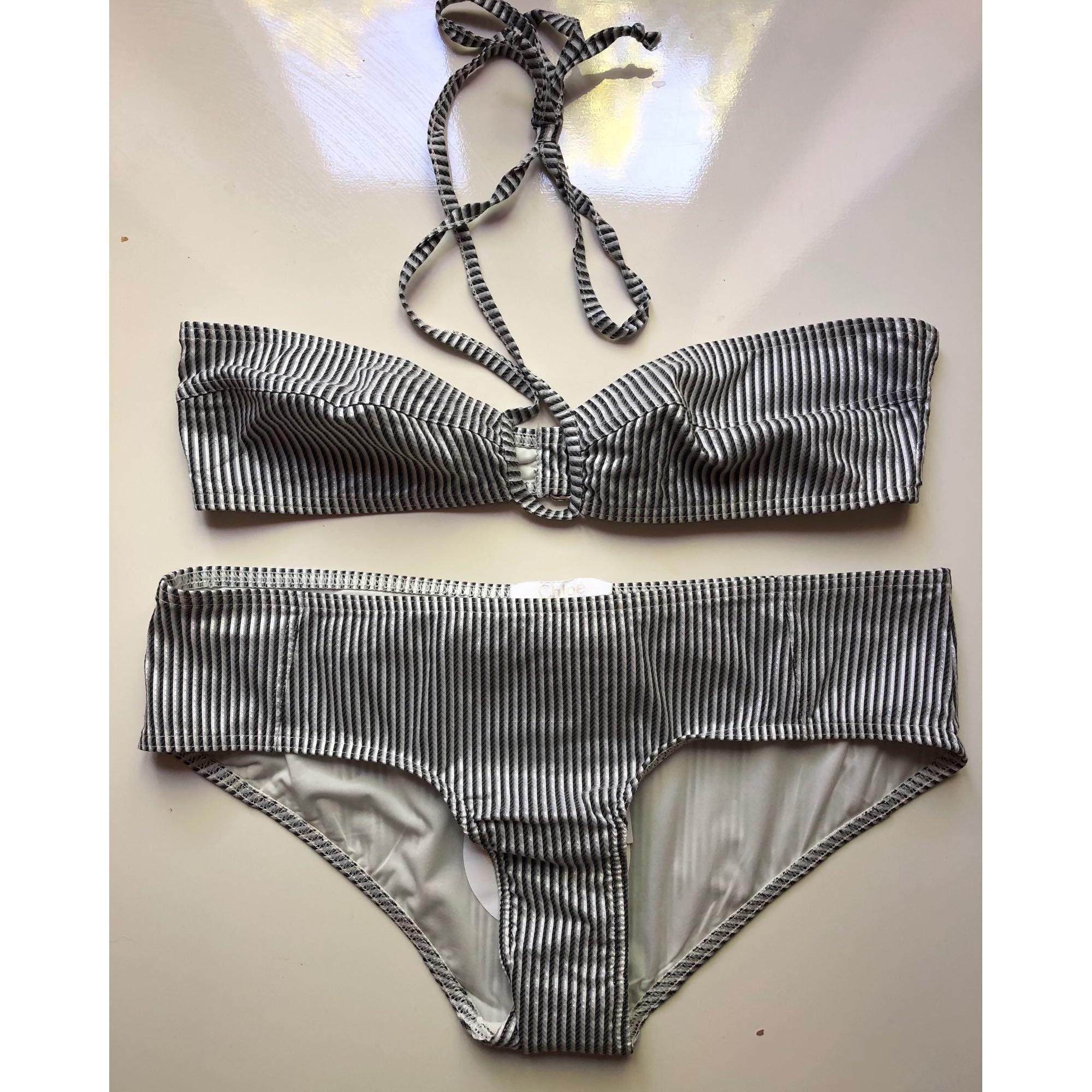 Maillot de bain deux-pièces CHLOÉ Blanc raye noir & gris