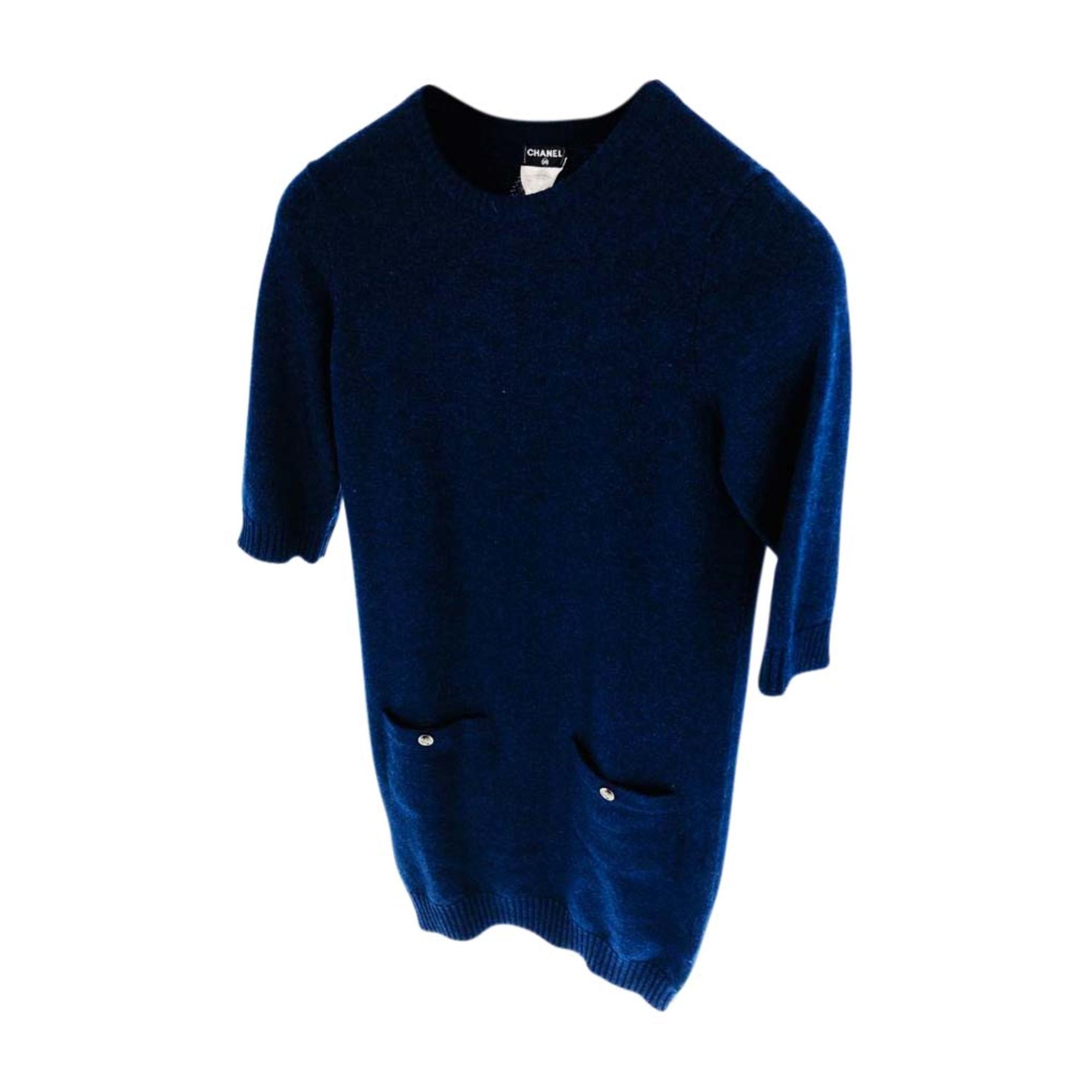 Robe pull CHANEL Bleu, bleu marine, bleu turquoise