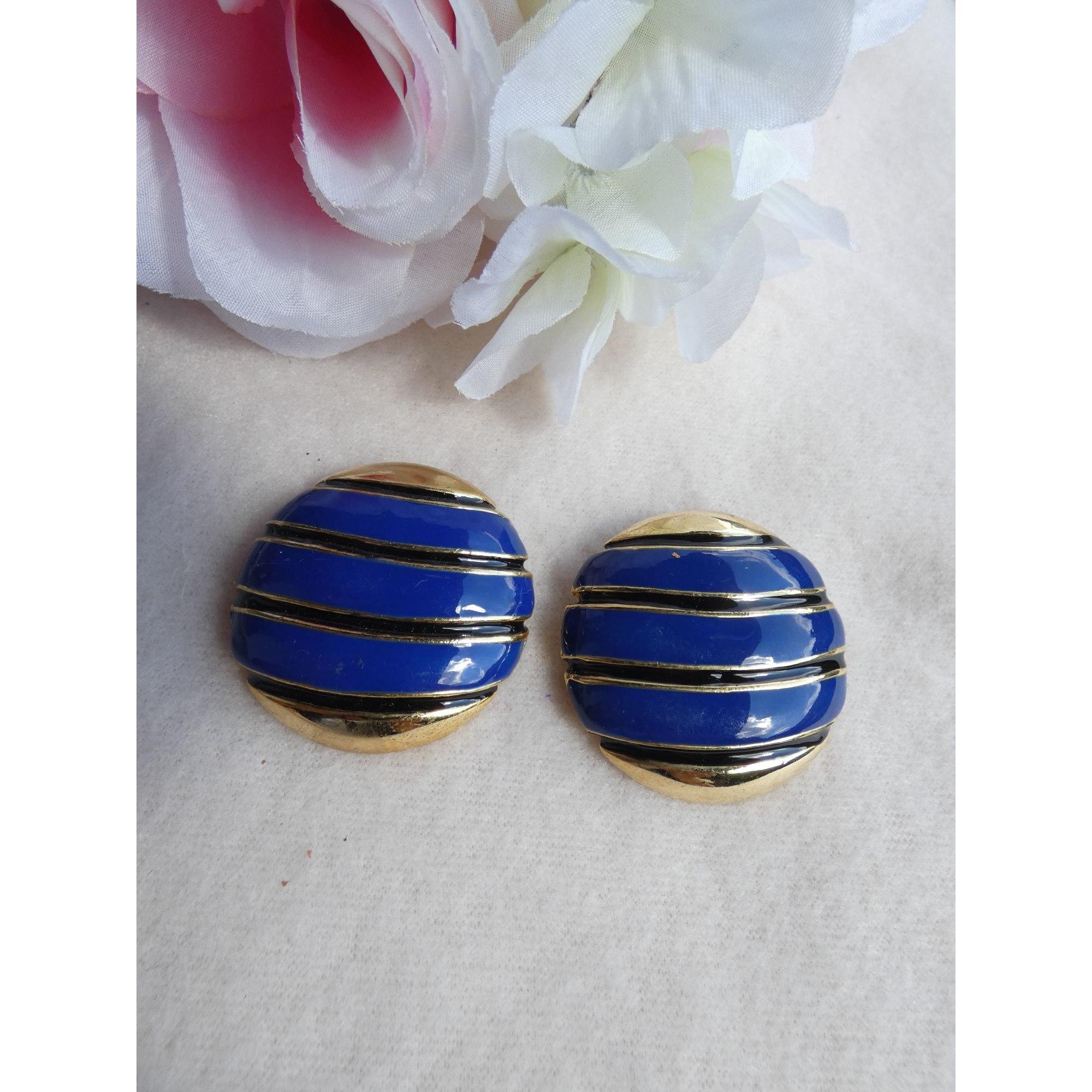 Boucles d'oreille 100% VINTAGE Bleu, bleu marine, bleu turquoise