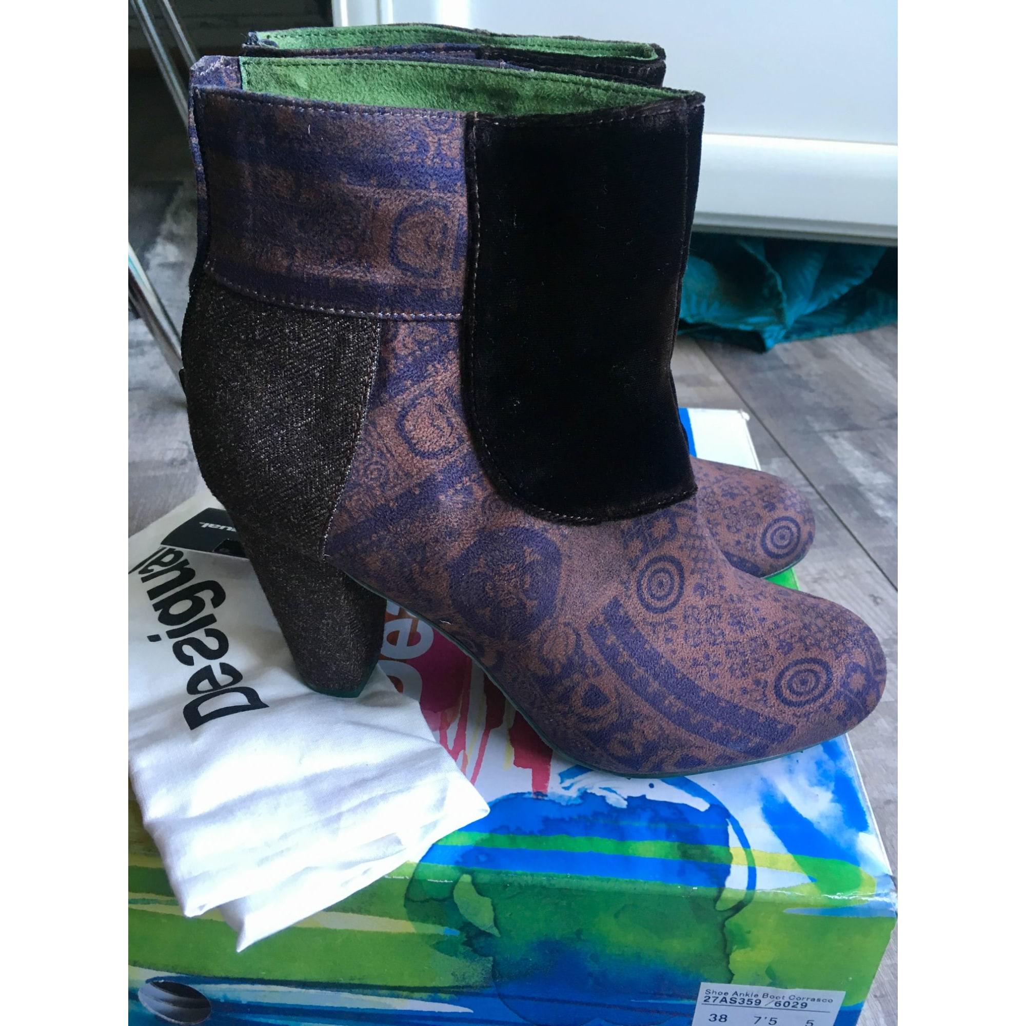 Bottines & low boots à talons DESIGUAL Marron