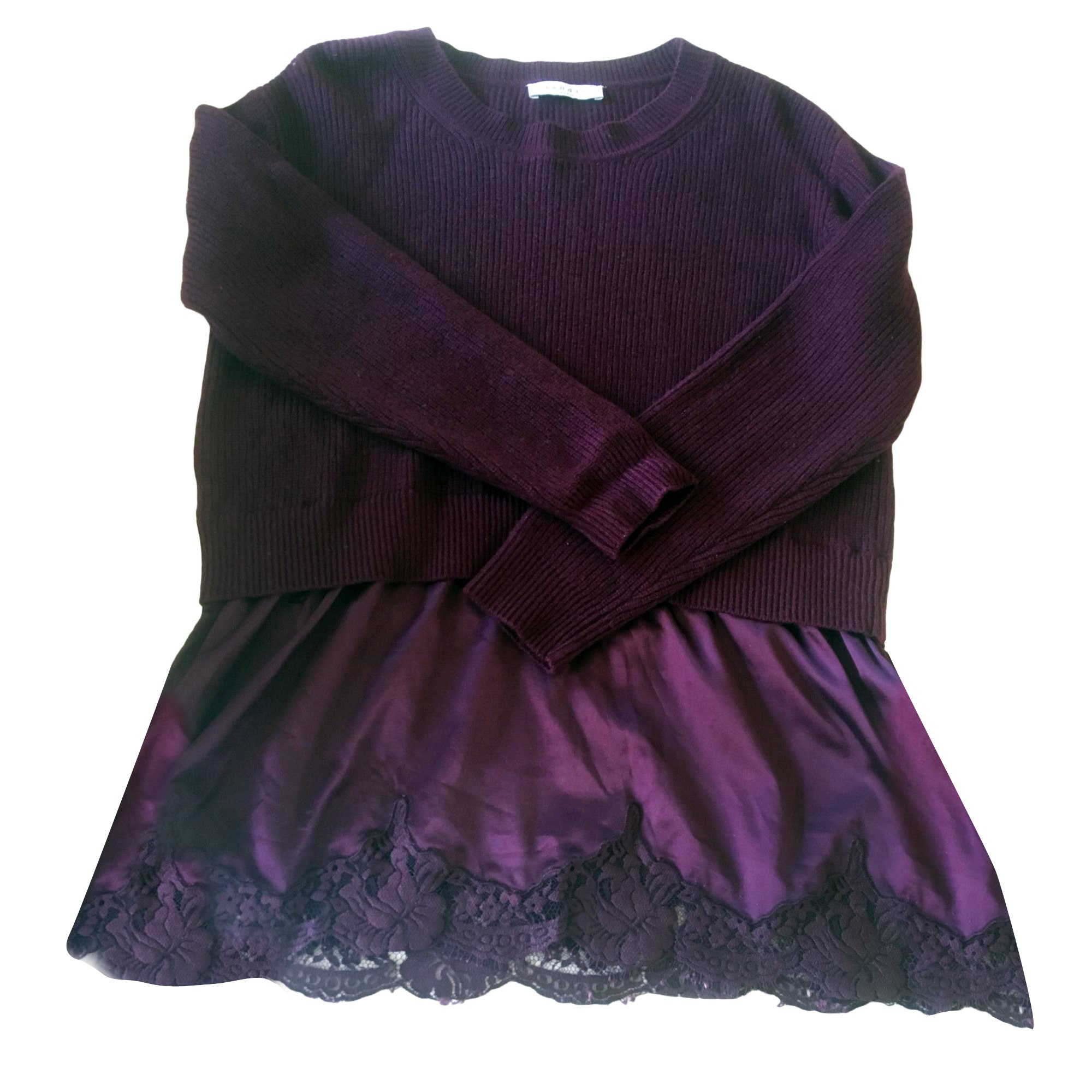 Pull tunique SANDRO Violet, mauve, lavande