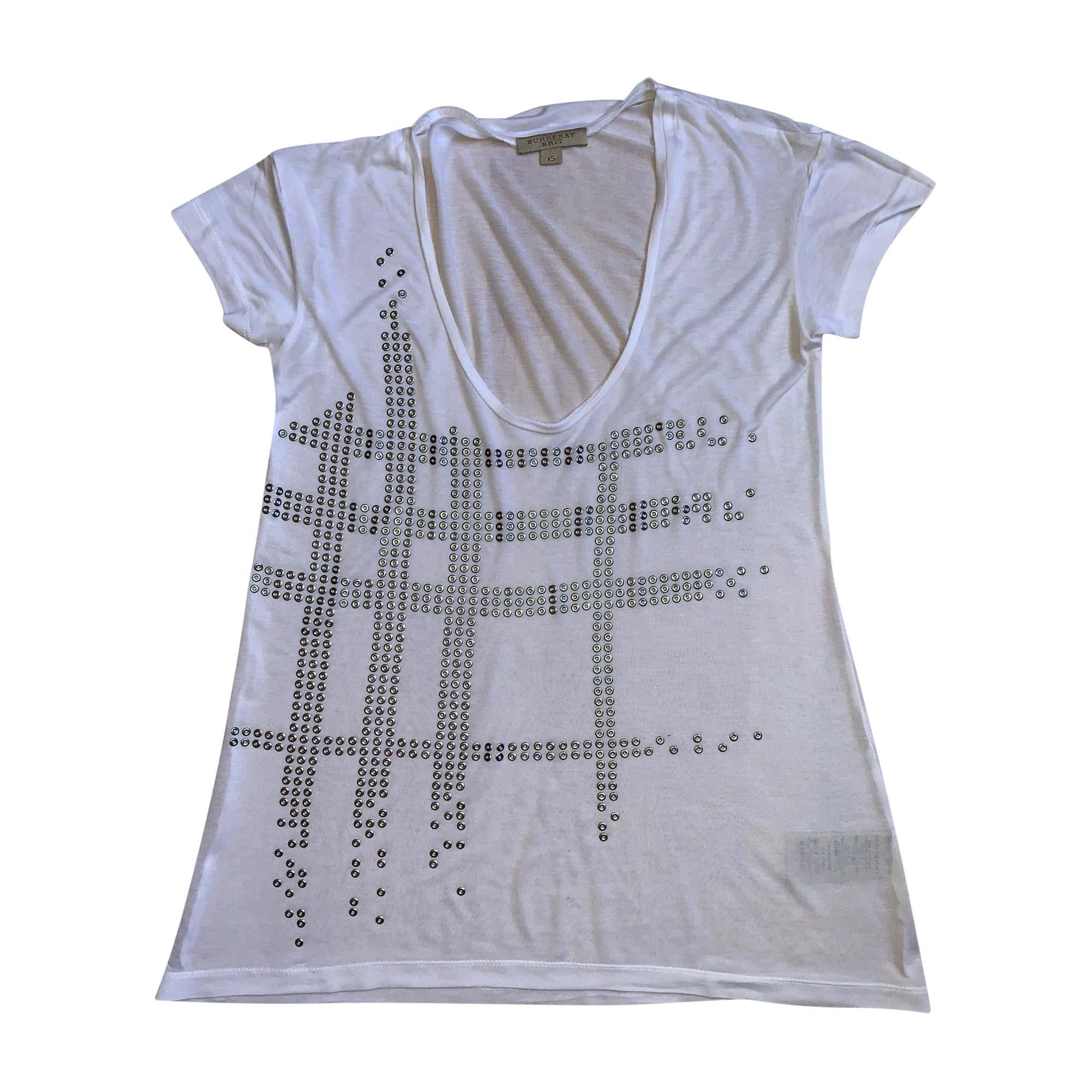 Top, tee-shirt BURBERRY Blanc, blanc cassé, écru