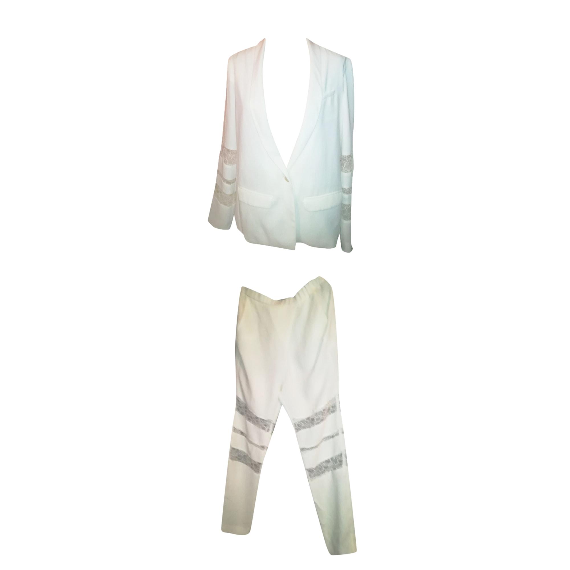 Tailleur pantalon MAJE Blanc, blanc cassé, écru