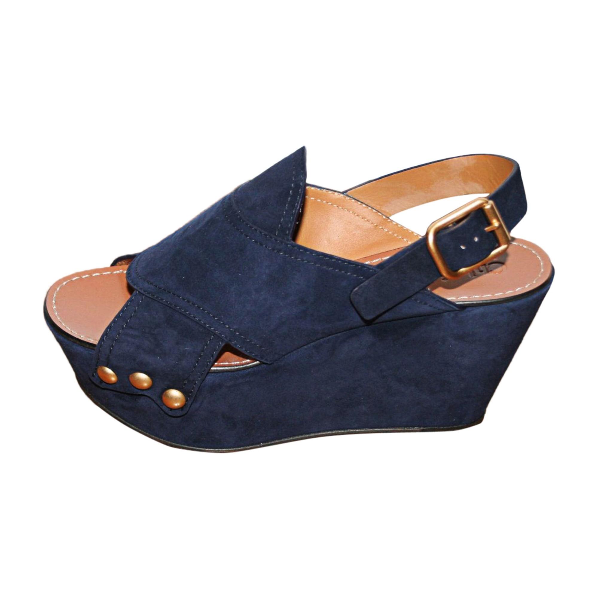 Sandales compensées CHLOÉ Bleu, bleu marine, bleu turquoise