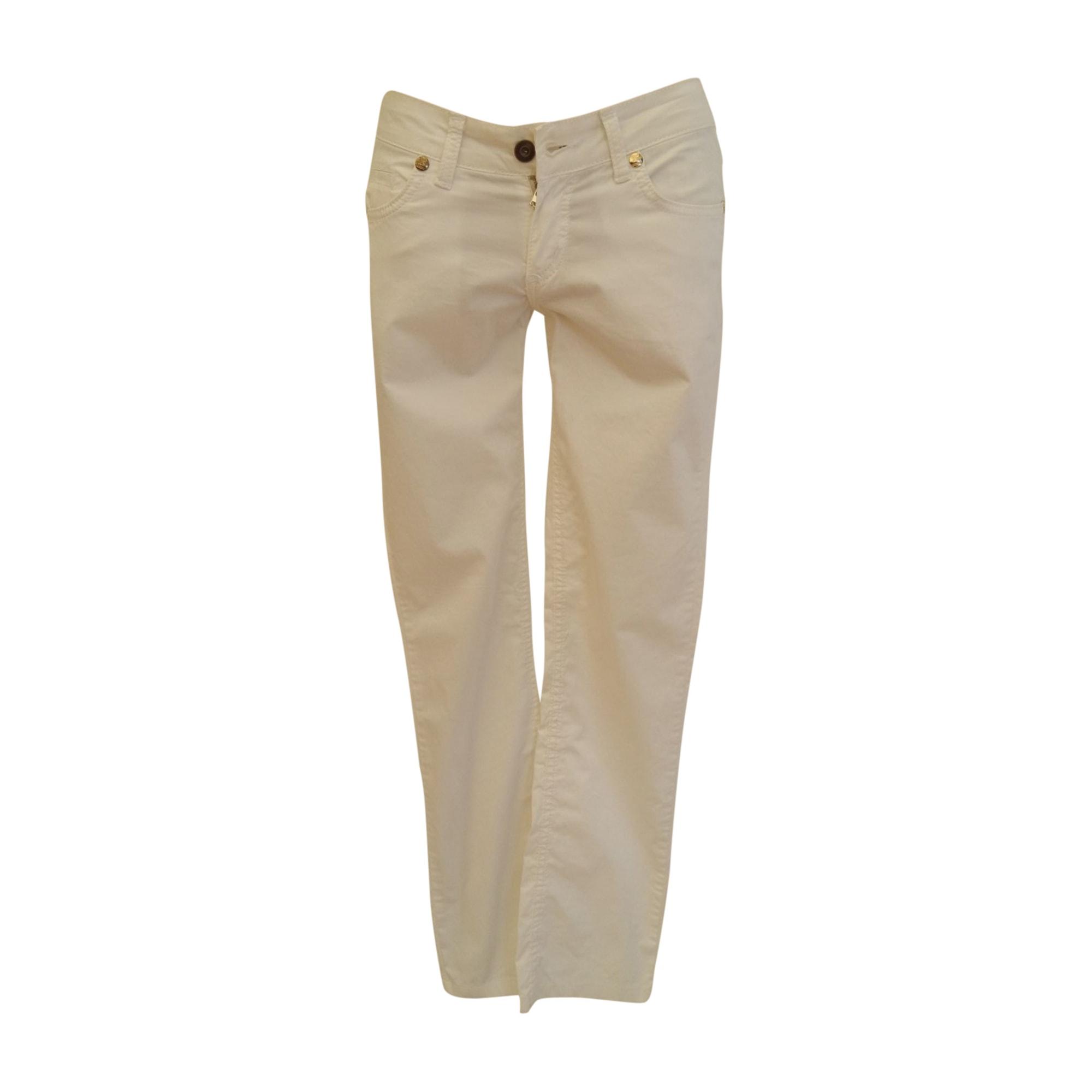 Pantalon droit BURBERRY Blanc, blanc cassé, écru