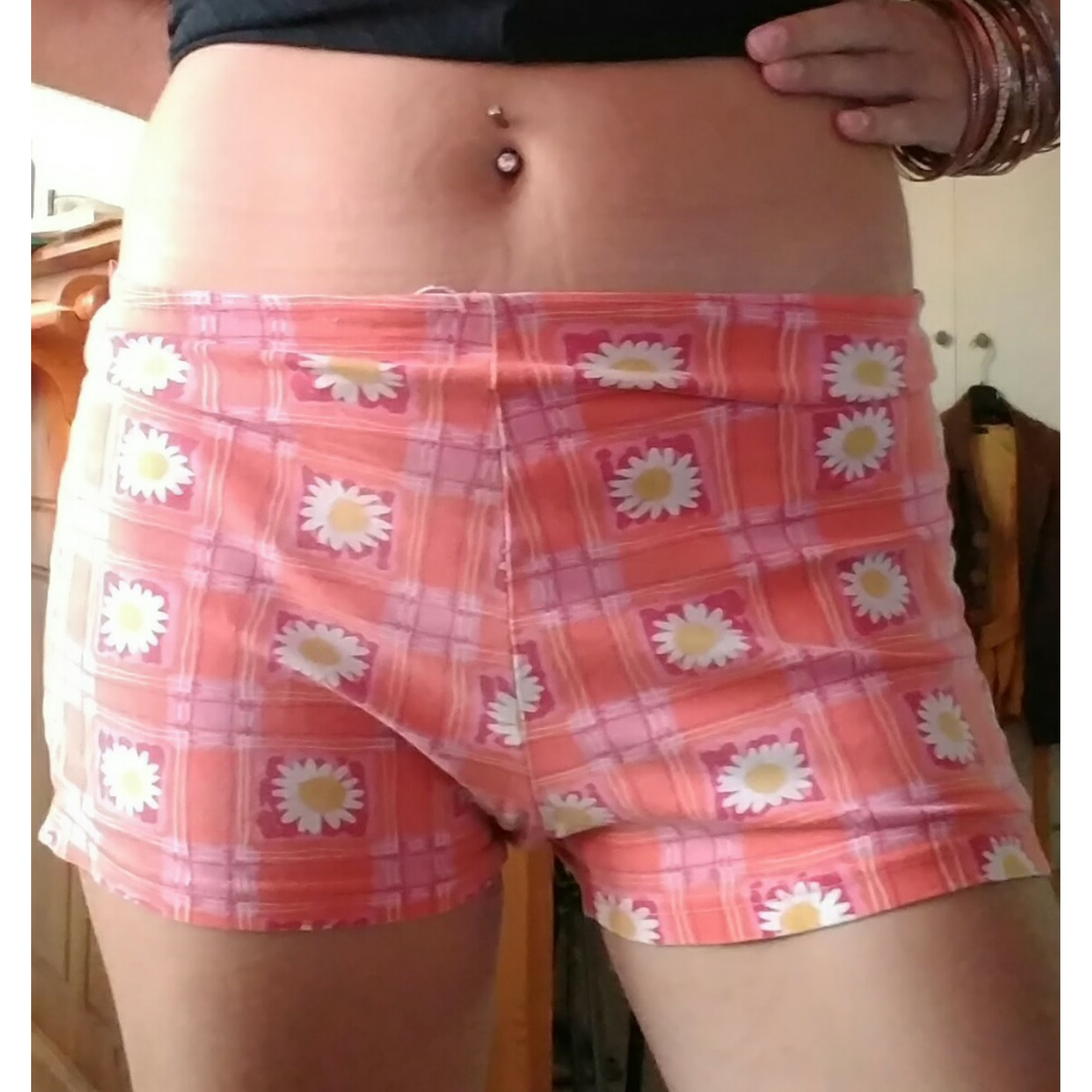 Short JENNYFER orange,carreaux,fleurs
