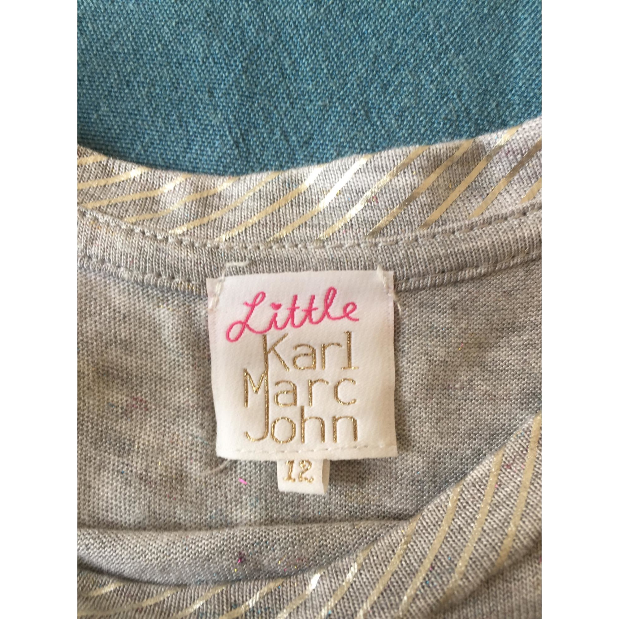 Top, Tee-shirt LITTLE KARL MARC JOHN Argenté, acier