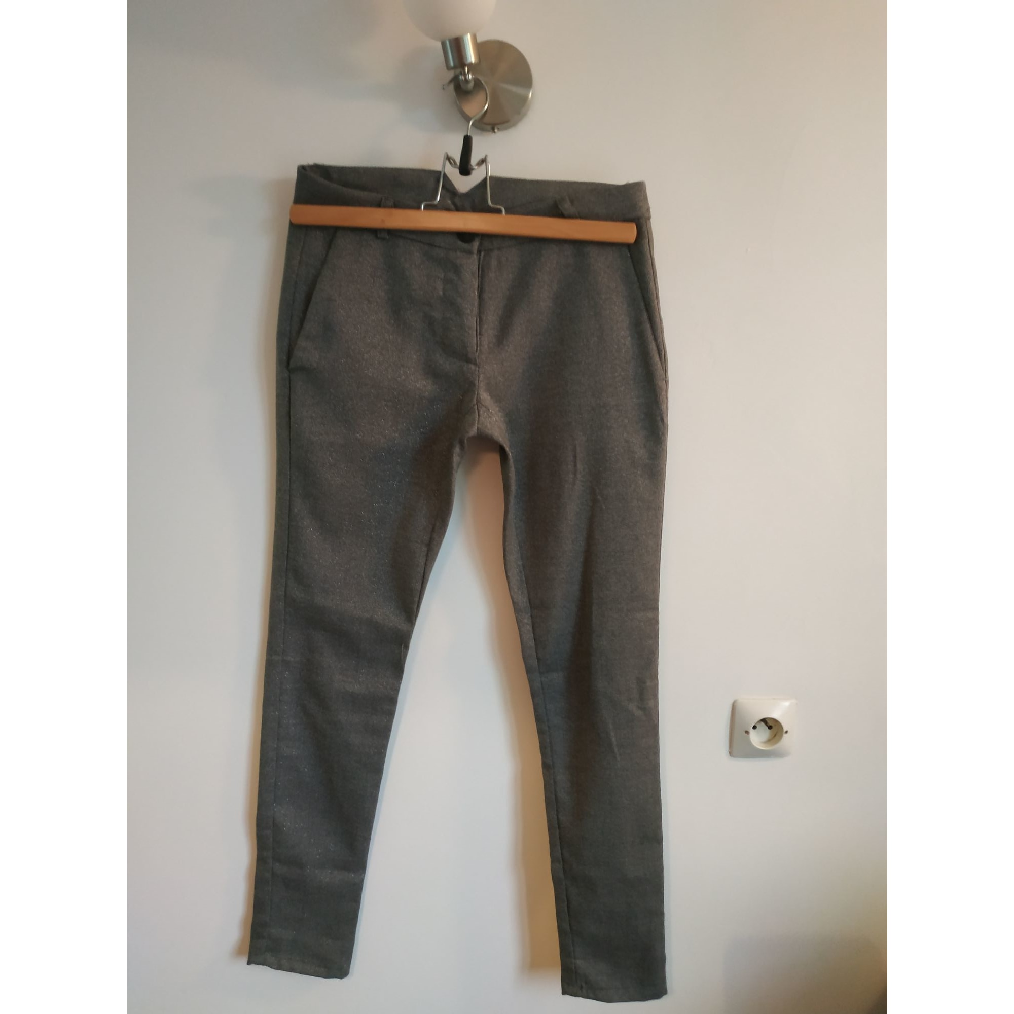Pantalon droit PLEASE gris pailleté