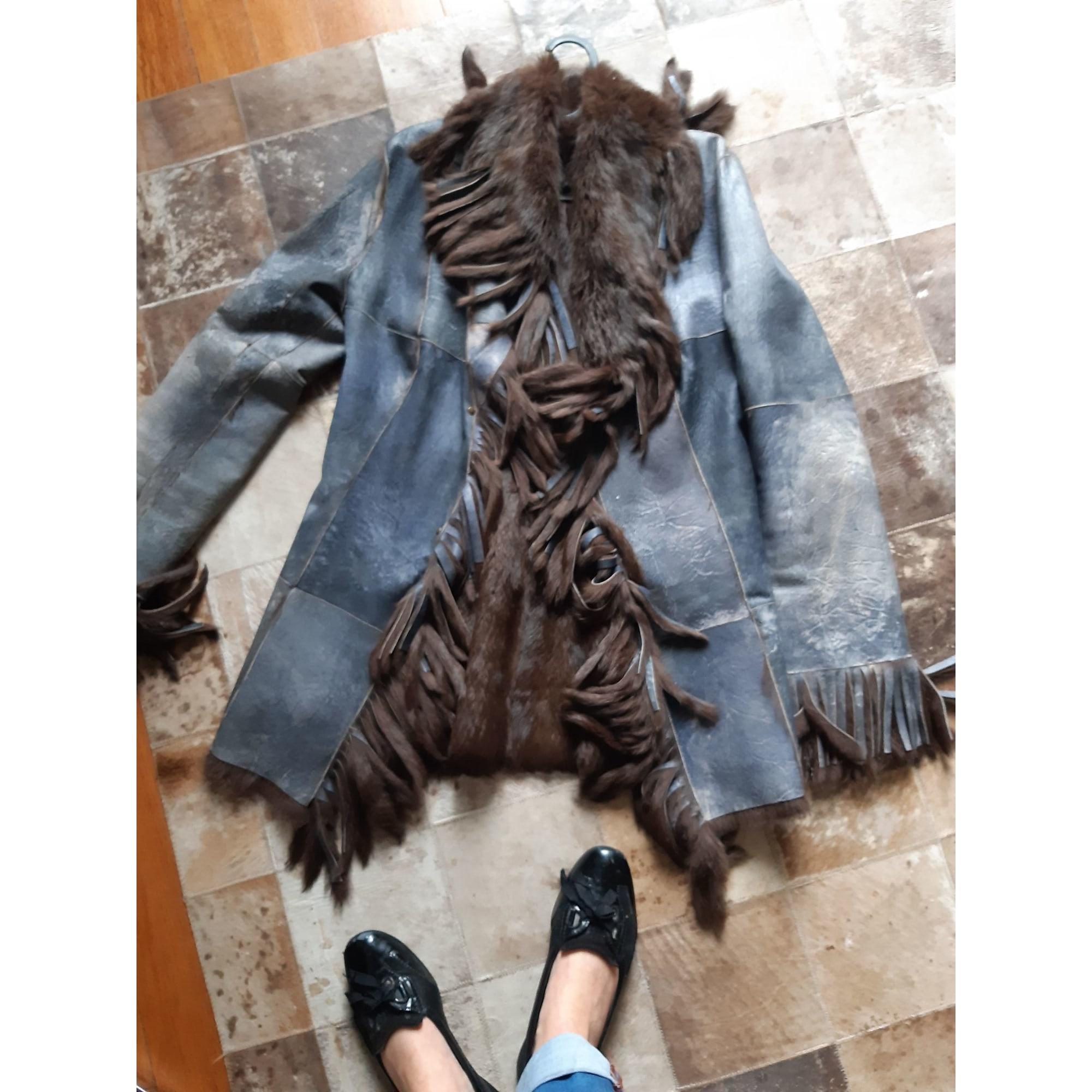 Blouson, veste en fourrure MARQUE INCONNUE Bleu, bleu marine, bleu turquoise