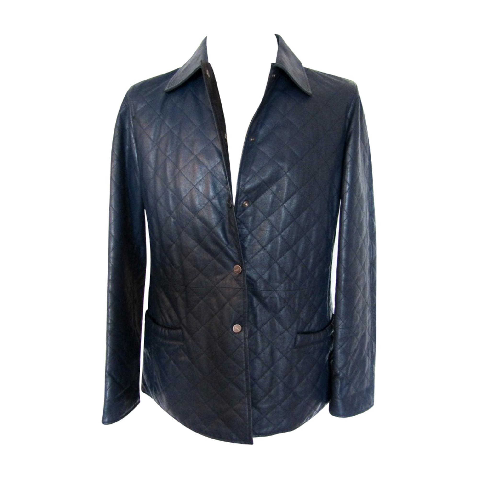 Veste en cuir SALVATORE FERRAGAMO Bleu, bleu marine, bleu turquoise
