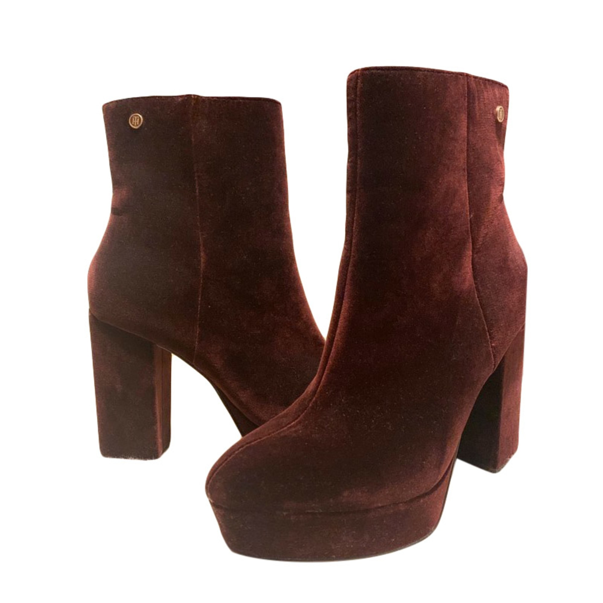 Bottines & low boots à talons TOMMY HILFIGER Rouge, bordeaux