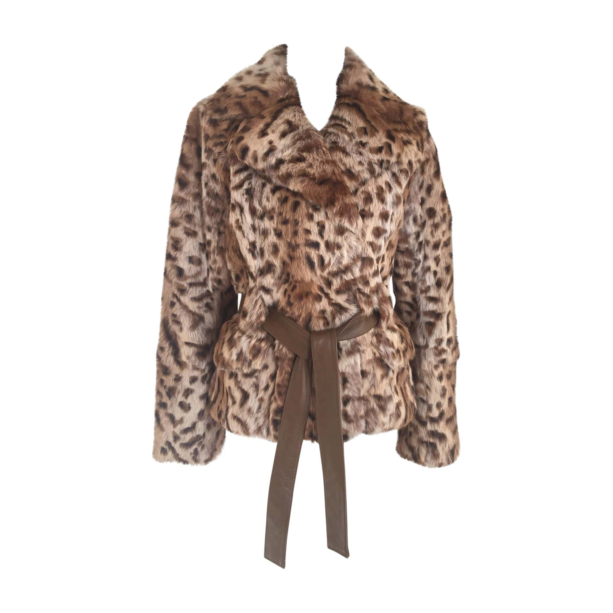 Manteau en fourrure YVES SALOMON Imprimés animaliers