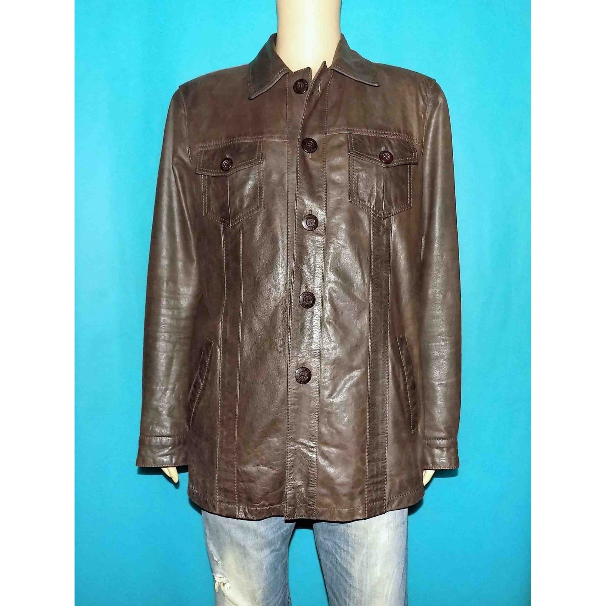Veste en cuir OAKWOOD Marron