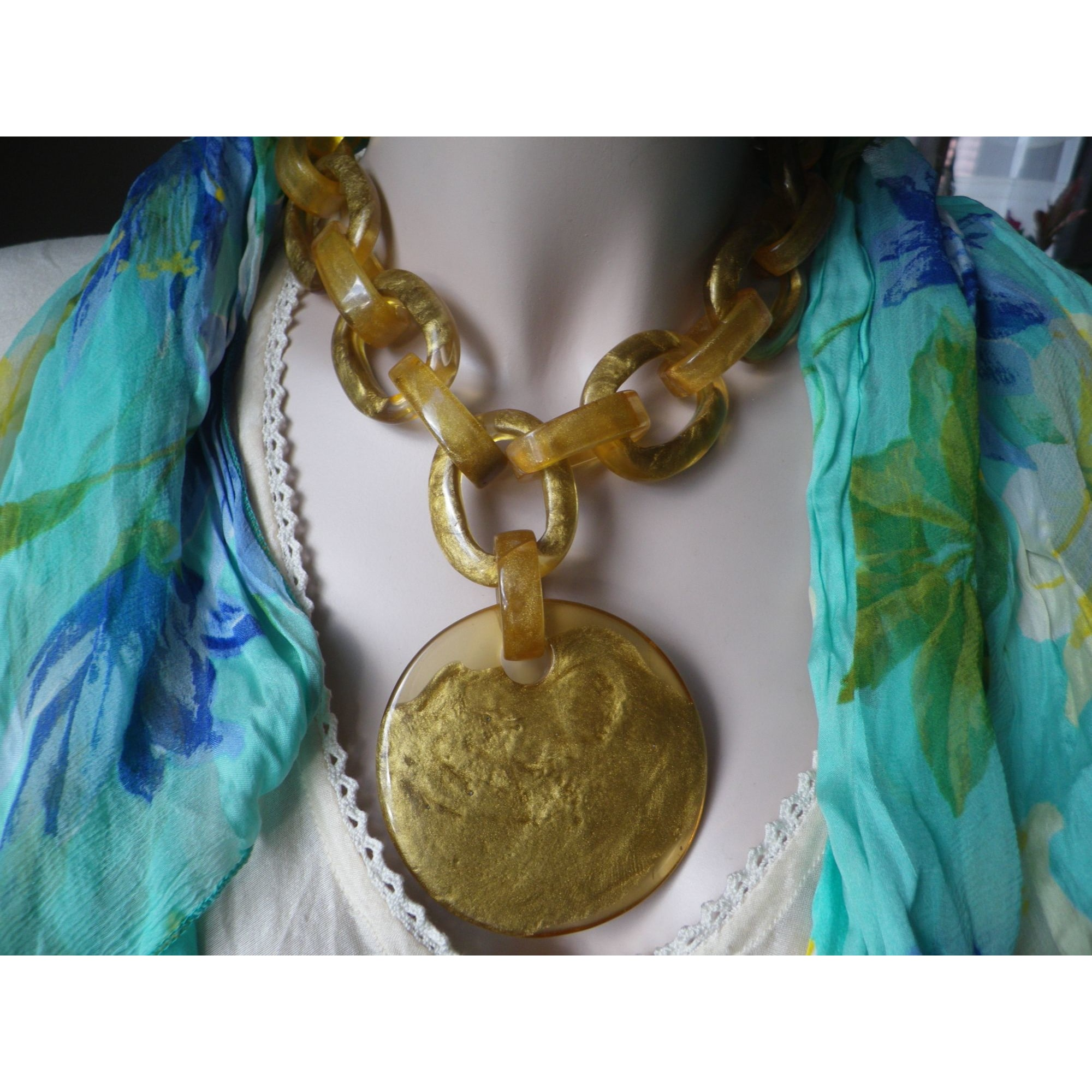 Collier DOMINIQUE DENAIVE Doré, bronze, cuivre