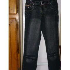 Jeans droit jean homme noir  pas cher