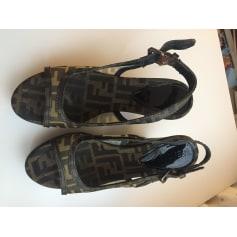 Sandales compensées Fendi  pas cher