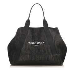 Leather Shoulder Bag Balenciaga Navy Cabas