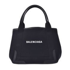 Non-Leather Handbag Balenciaga Navy Cabas