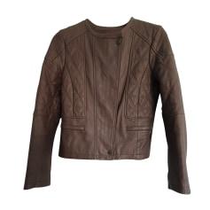 Veste en cuir Comptoir Des Cotonniers  pas cher