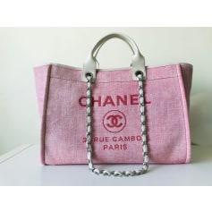 Sac à main en tissu Chanel Deauville pas cher