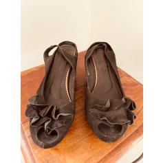 Sandales compensées Couleur Pourpre  pas cher
