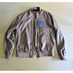 Leather Zipped Jacket Versace