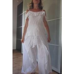 Pantalon large Blanc du Nil  pas cher