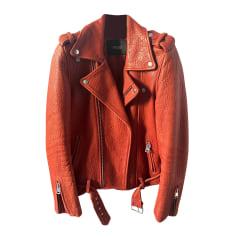 Leather Zipped Jacket Maje