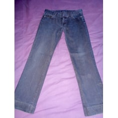 Jeans droit Blanc Bleu  pas cher