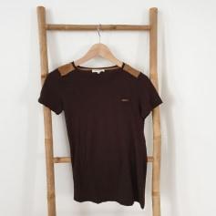 Top, tee-shirt Top tee-shirt marron MASSIMO DUTTI - Taille S  pas cher