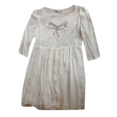 Robe courte SANDRO Blanc, blanc cassé, écru