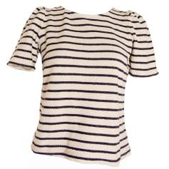 Top, tee-shirt 1975 DIMENSION Blanc & Bleu marine