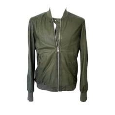Leather Zipped Jacket DIESEL Green