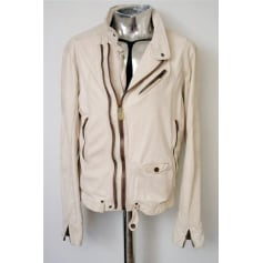 Leather Zipped Jacket DIESEL White, off-white, ecru
