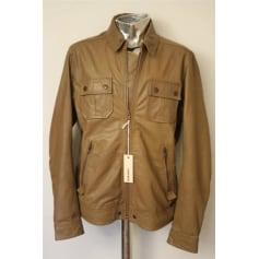 Leather Zipped Jacket DIESEL Brown