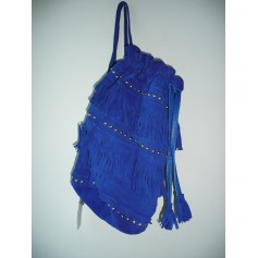 Leather Handbag AMERICAN RETRO Blue, navy, turquoise
