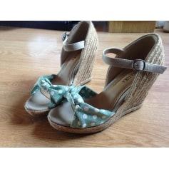 Sandales compensées DONNA LOKA cuir argent 38 tah9n0eRg