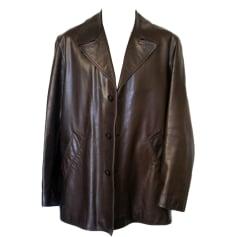 Leather Coat HUGO BOSS Brown