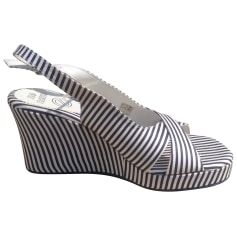 Wedge Sandals NO NAME Rayé Marine et blanc