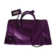 Leather Handbag BALENCIAGA Work Purple, mauve, lavender
