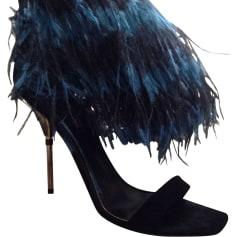Sandales à talons LOUIS VUITTON Noir et bleu
