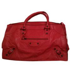 Leather Handbag BALENCIAGA Work Red, burgundy