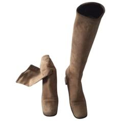 Stivali con tacchi PRADA Beige, cammello