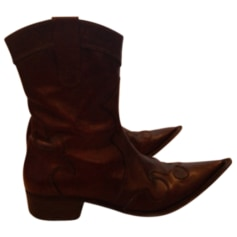 Santiags, bottines, low boots cowboy MINELLI Marron