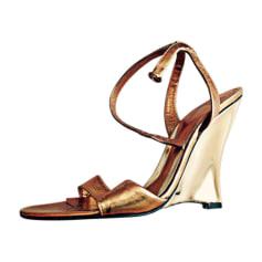 Sandales à talons AZZARO Doré, bronze, cuivre