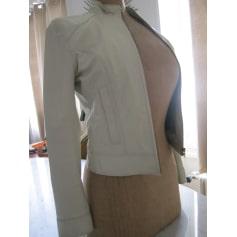 Veste en cuir ANNE DELAIGLE Blanc, blanc cassé, écru