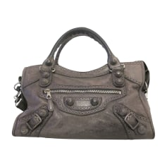 Leather Handbag BALENCIAGA City Gray, charcoal