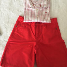 Shorts Set, Outfit NECK AND NECK Red, burgundy