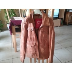 Leather Zipped Jacket EDC BY ESPRIT Beige, camel