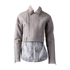 Leather Jacket DIESEL Gray, charcoal